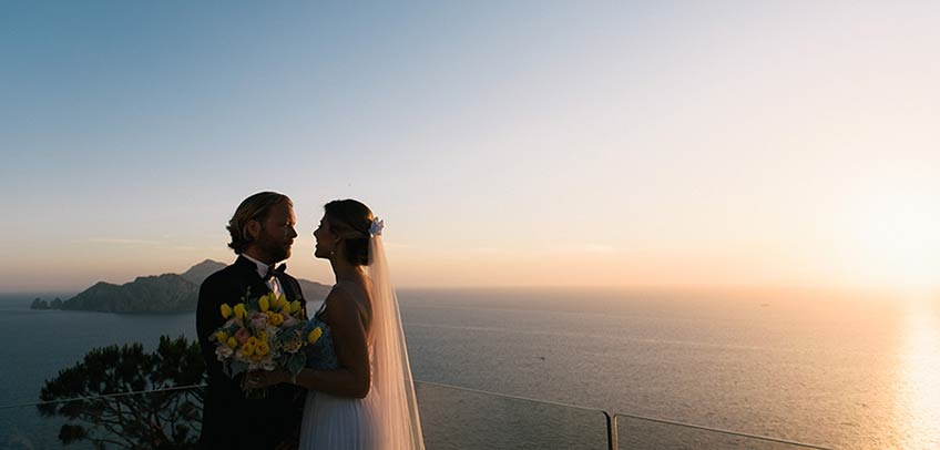wedding in Amalfi Coast overlooking Capri island