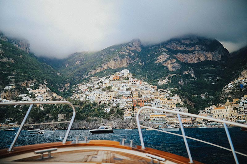 boat tour at sunset in Positano