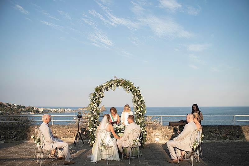 Wedding ceremony at Norman Castle of Aci Trezza