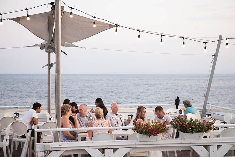 Seaside wedding reception in Taormina